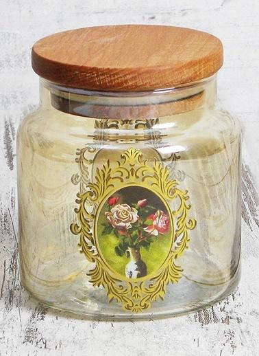 Lüsterli Desenli Sarı Kavanoz - Orta-Joy Glass